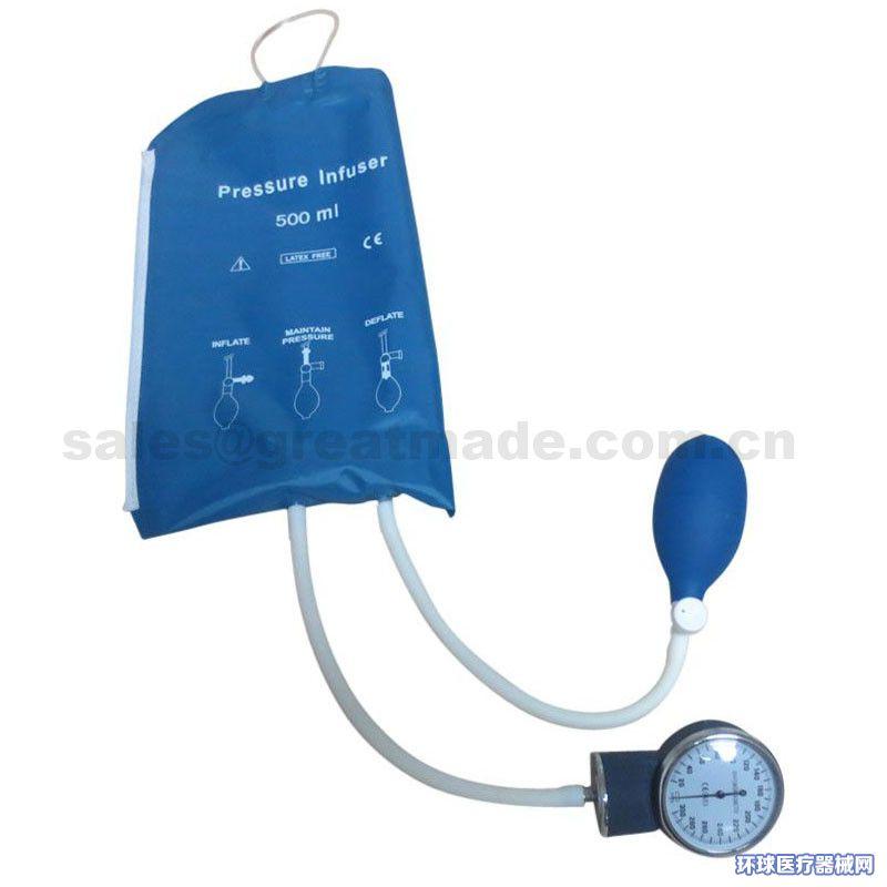 500ml输液加压袋加压输液袋带压力表(蓝色)网面