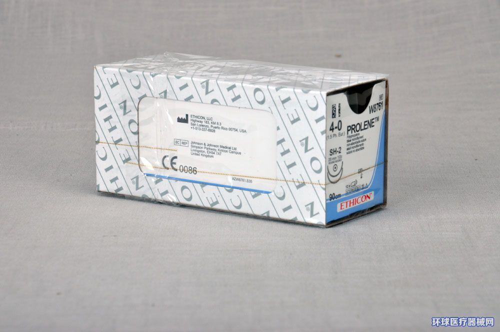 美国强生ETHICON聚丙烯不可吸收缝合线W8761